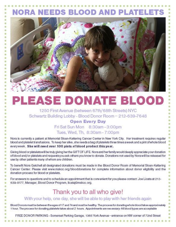 Nora needs blood & platelets